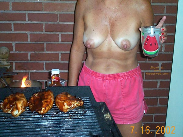 Pic #6 - Backyard Girl Grilling Out Some Chicken Breasts