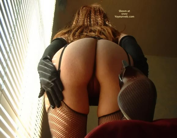 Pic #1 - Rear View Looking Up - Gloves , Rear View Looking Up, Black Fishnet Stockings, Black Gloves