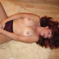 Red Head  Red Panties On Floor Rug