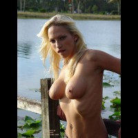 Blonde Outside - Big Areolas, Naked Outdoors, Navel Piercing