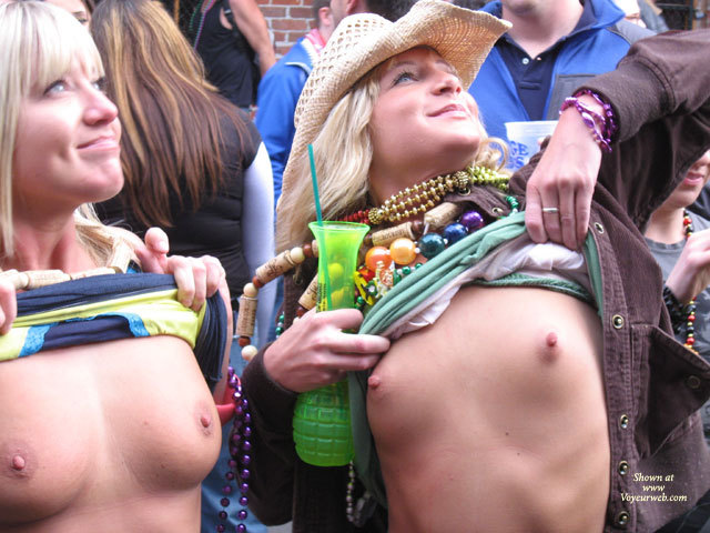 Pic #1 - Mardi Gras Flashers - Blonde Hair, Flashing, Small Breasts , Flashing For Beads, Blond Flashers, Happy Smiling Faces, Outdoor Tits, Pink Areolas, Flashing Breasts Upwards To Stage, Large Erect Nipples