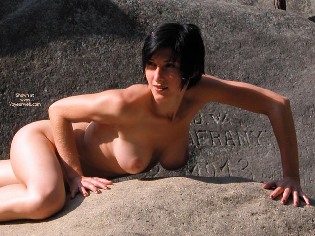 Pic #1 - Short Dark Hair , Short Dark Hair, Nude On Rocks, Outside On Rocks, Tits Hanging