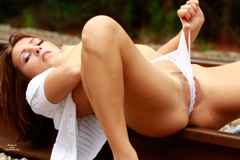 Pretty Brunette Pulling Lace Panties Into Her Pussy - Brunette Hair, Hairy Bush, Spread Legs, Trimmed Pussy, Looking At The Camera, Sexy Legs , Looking Into Camera, On The Tracks, Pulling Panties, Neatly Trimmed Bush, Widespread Legs, Stretching White Lace Panties Over Trimmed Pussy, Sexy Brunette With White Lace Panties, Puffy Nipples, On Back Balanced On Railroad Track, Sexy Brunette With Legs Spread, Spread Legs