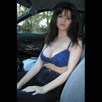Nadine Flashing Outside Her Car