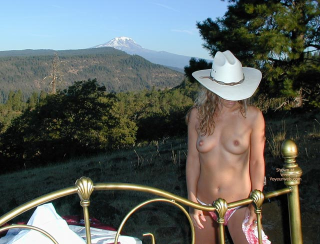 Pic #1 - Checkered Panties - Cowboy Hat , Checkered Panties, Cowgirl Brass Bed Outdoors, Country Girl, Mount St. Helens, Red And White Thong, White Cowboy Hat