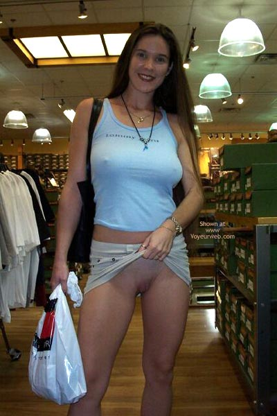 Pic #1 - Seriously  Dude  I M Not Wearing Panties - Nude In Public, Shaved Pussy , Seriously  Dude  I M Not Wearing Panties, Shaved Pussy, Nude In Public, Showing Shaved Pussy In Public, Beige Skirt, Blue T Shirt, Black Bag