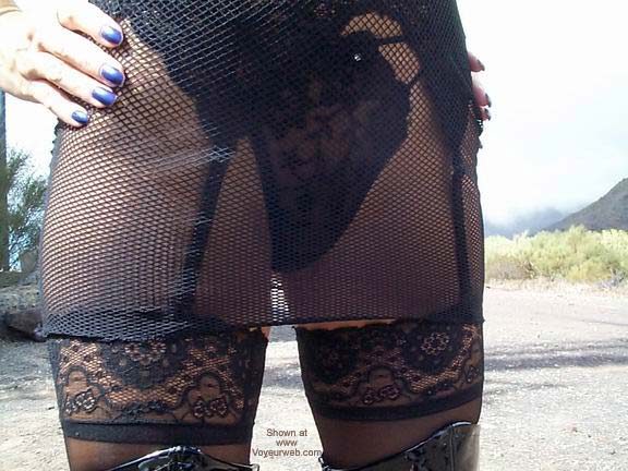 Pic #2 - Fishnet Dress, Stockings and Boots in Public