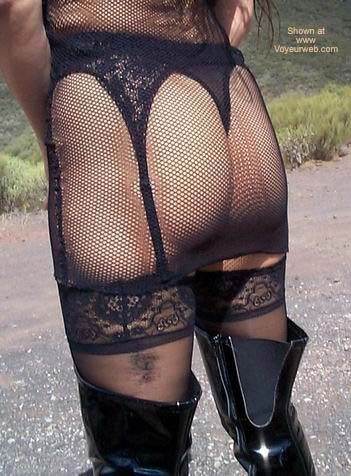 Pic #3 - Fishnet Dress, Stockings and Boots in Public