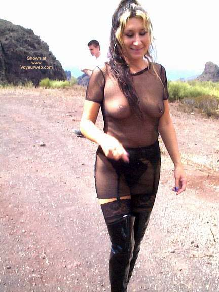 Pic #4 - Fishnet Dress, Stockings and Boots in Public