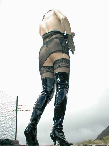 Pic #5 - Fishnet Dress, Stockings and Boots in Public