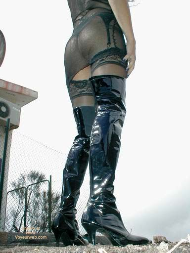 Pic #6 - Fishnet Dress, Stockings and Boots in Public