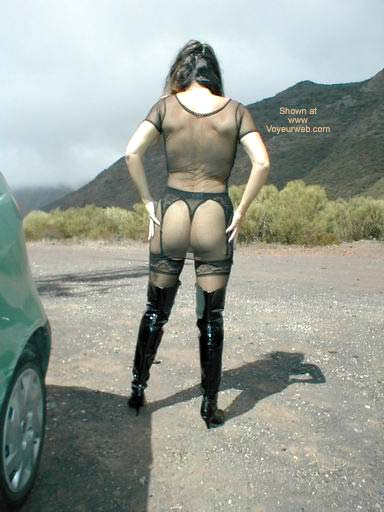 Pic #7 - Fishnet Dress, Stockings and Boots in Public