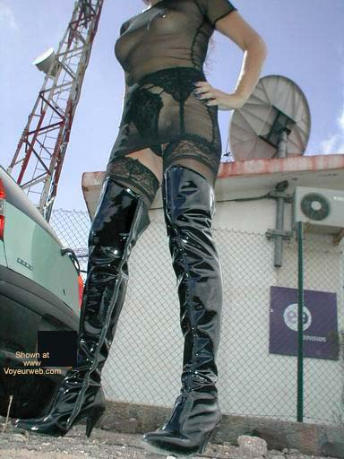 Pic #8 - Fishnet Dress, Stockings and Boots in Public