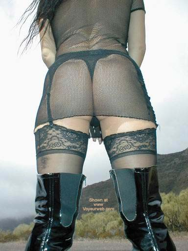 Pic #9 - Fishnet Dress, Stockings and Boots in Public