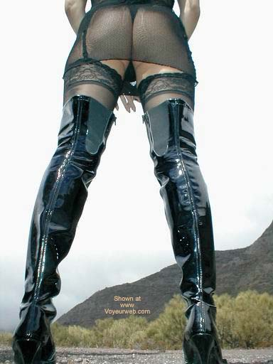 Pic #10 - Fishnet Dress, Stockings and Boots in Public