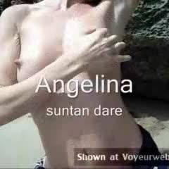 Angelina - Suntan Dare - Beach, Big Tits, Brunette