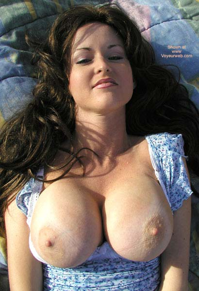 Pic #1 - Topless Facial Of A Girl - Brunette Hair, Long Hair, Showing Tits , Topless Facial Of A Girl, Brunette, Very Big Boobs, Blue Summerdress, Exposed Tits, Long Hair