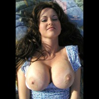 Topless Facial Of A Girl - Brunette Hair, Long Hair, Showing Tits