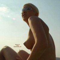 Topless Blonde At The Beach - At The Beach, Perky Tits, Puffy Nipples, Sunglasses, Beach Voyeur