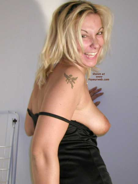 Pic #1 - Black Nightie With Tit Exposed , Black Nightie With Tit Exposed, Tattoo On Shoulder With Tit Exposed, Big Smile On Blond With Tit Exposed, Black Silky Dress