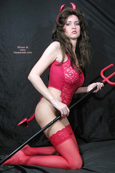 Pic #3 - Little Red Devil Nadine Plays With Pitchfork