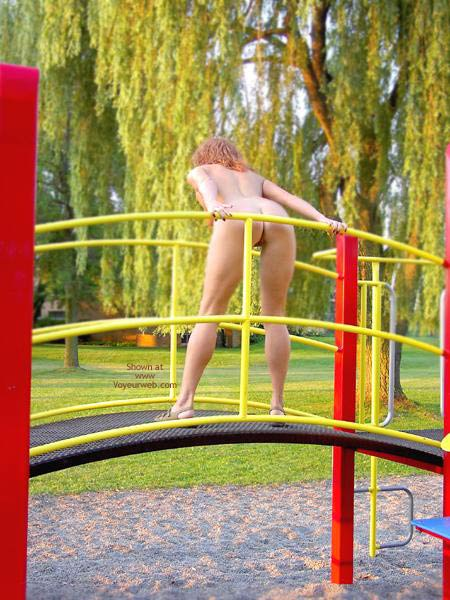 Pic #1 - Playing Nude Outdoors - Nude Outdoors , Playing Nude Outdoors, Bending Over On Playground, Nude Playground