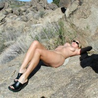 Naked Girl On A Rock - Lying Down, Sandals