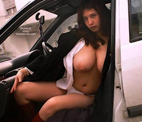 Pic #1 - Topless Girl Sitting In A Car - Nude In Car , Topless Girl Sitting In A Car, Topless In Car, Curvy Tits, Very Huge Tits, Huge Areaolas, Round  Heavy Breasts