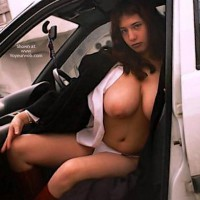 Topless Girl Sitting In A Car - Nude In Car