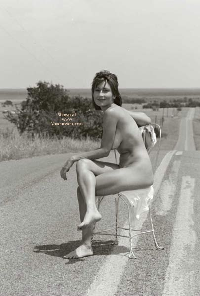 Pic #1 - Nude Girl Sitting On A Road - Black And White, Full Nude , Nude Girl Sitting On A Road, Middle Of Road, Seat In Road, Black And White, Fully Naked