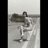 Nude Girl Sitting On A Road - Black And White, Full Nude