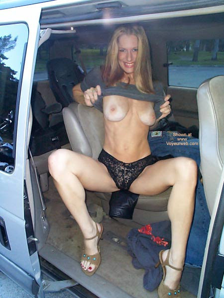 Pic #1 - Flashing Boobs In A Car - Nude In Car, Thong , Flashing Boobs In A Car, Black Thong, Girl Sitting In A Van, Titties With Tan Lines, Large Aerola
