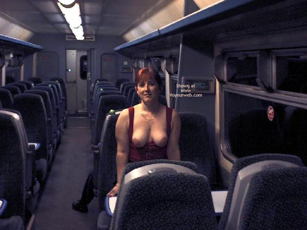 Pic #1 - Bare-breasted In Public , Bare-breasted In Public, Large Bare Breasts, Red-headed Topless Woman, Exposed On Bus, Redhead