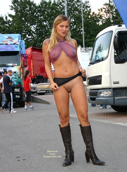 Pic #1 - High Black Boots - Long Hair, Scarf , High Black Boots, Purple Top  Black Skirt, Long Blond Hair, Sheer Scarf, Peeking Breasts, See Through Eip
