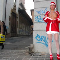 Santa Showing Breast On Street - Stockings
