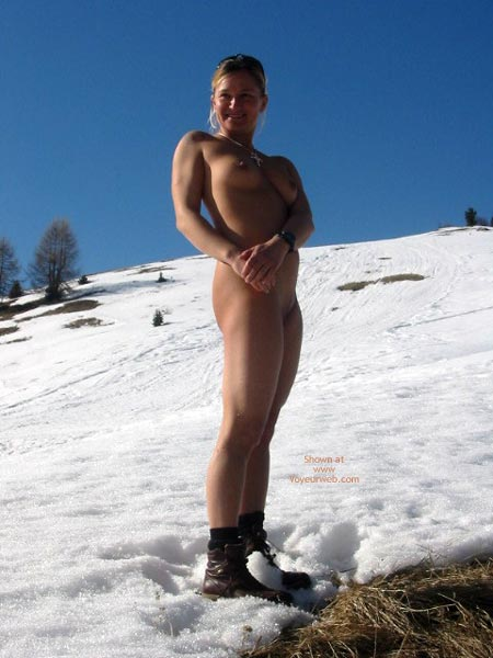 Pic #1 - Naked Blonde In Snow, Naked Blonde In Snow, Nude Outdoors In Snow, Naked Blonde Wearing Boots, Brown Boots