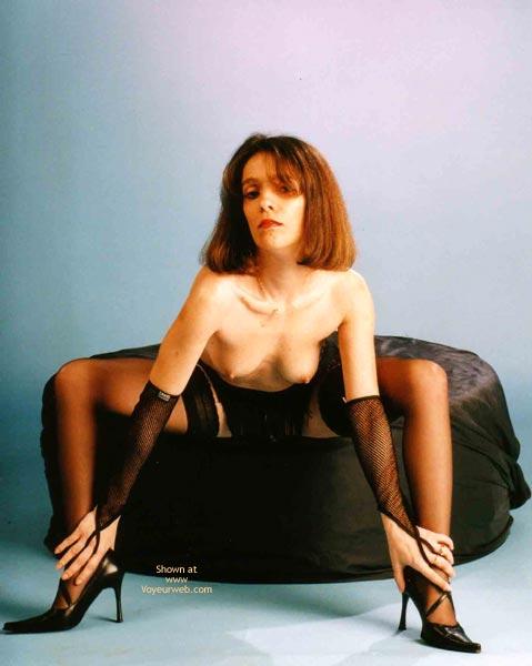 Pic #1 - Black Stockings - Brunette Hair, Heels, Stockings , Black Stockings, Brunette Hair, Bend Forward, Sitting Girl, Black High Heels