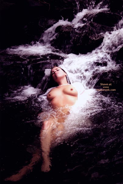 Pic #1 - Refreshing A Hot Body - Bath , Refreshing A Hot Body, Laying In Stream, Sweet Bath, Big Breasted Brunette In Waterfall