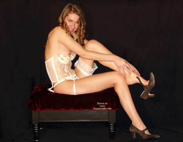 Pic #1 - Vintage Naughty - Small Tits, Sexy Lingerie , Vintage Naughty, Pink Nipple, White Lingerie, Looking Into Camera Smiling, Tall  Slim, Small Tits, Lace Bustier