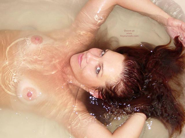 Pic #1 - Mermaid Splash , Mermaid Splash, Nude In Tub With Henna Hair, Topless With Arms Above Head, Floating Hair