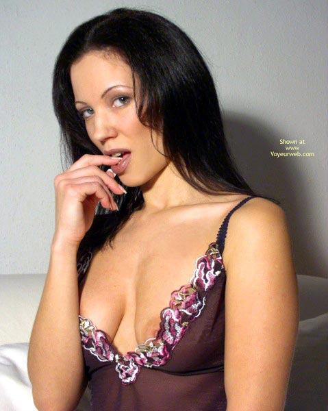 Pic #1 - Lingerie - Sexy Lingerie , Lingerie, Exposed  Nipple, Large Aerola, Dark Hair With Blue Eyes, Maroon Babydoll, Finger Licking, Purple Lingerie