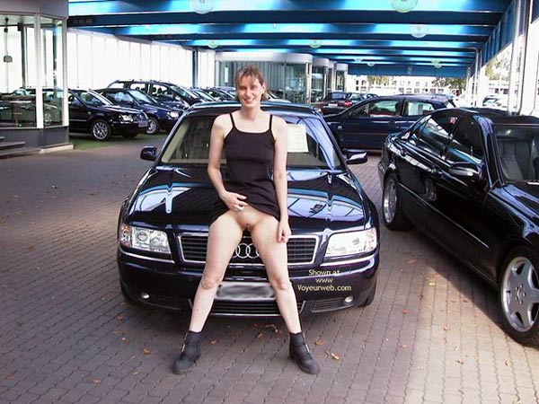 Pic #1 - Flashing At A Dealership - Black Dress, Boots, Exposed In Public , Flashing At A Dealership, Exposed In Public, Black Audi, Pussy Show Black Dress, Black Boots, Shaved Audi Girl