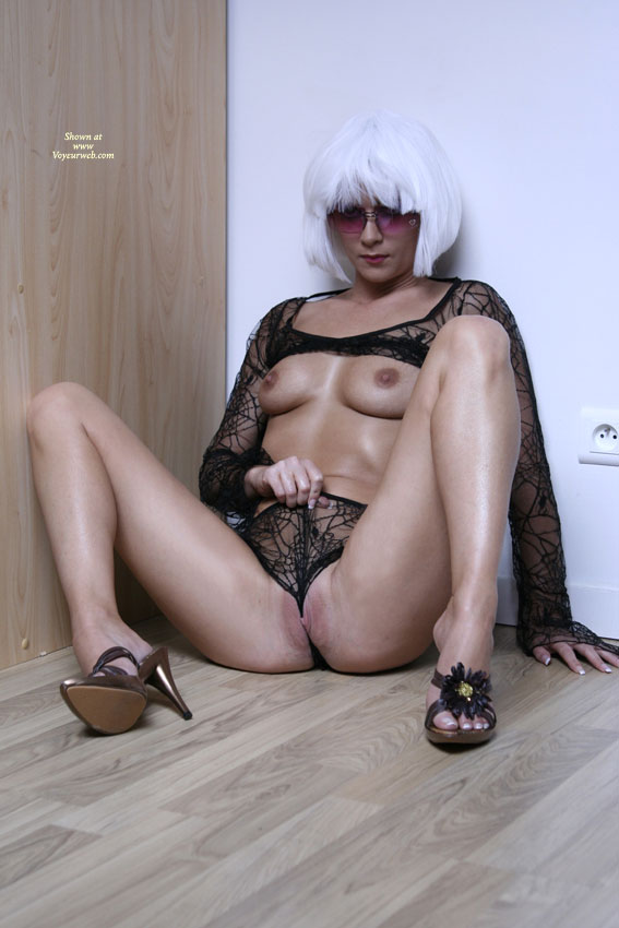 Pic #1 - Toned Milf Body - Long Legs, Milf, Shaved Pussy , G-string, White Wig, Black Lace Panties, Wedgie, Sitting And Showing Breasts, Platinum Wig, Crotch Shot, Black Spider Web, Wig And Shaved Pussy, Camel Toe Lips, Full Frontal, Gold High Heeled Sandals, Sitting In The Corner, Shapely Legs, Black Long Sleeved Lace Top, Smooth Pussy, Spider Woman, Flossing Her Pussy