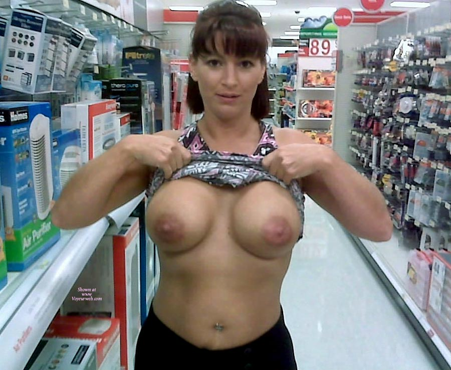 Pic #1 - Wife Flashing Boobs At The Pharmacy - Big Tits, Flashing Tits, Flashing, Topless, Hot Wife, Sexy Boobs , Big Round Tits, Looking Into Camera, Topless In Public, Pierced Belly Button, Large Areolla