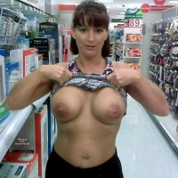Wife Flashing Boobs At The Pharmacy - Big Tits, Flashing Tits, Flashing, Topless, Hot Wife, Sexy Boobs , Big Round Tits, Looking Into Camera, Topless In Public, Pierced Belly Button, Large Areolla