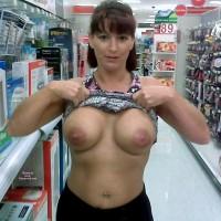 Wife Flashing Boobs At The Pharmacy - Big Tits, Flashing Tits, Flashing, Topless, Hot Wife, Sexy Boobs
