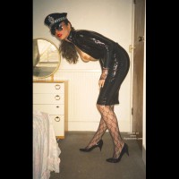W. PVC Pam in Black Cop Outfit