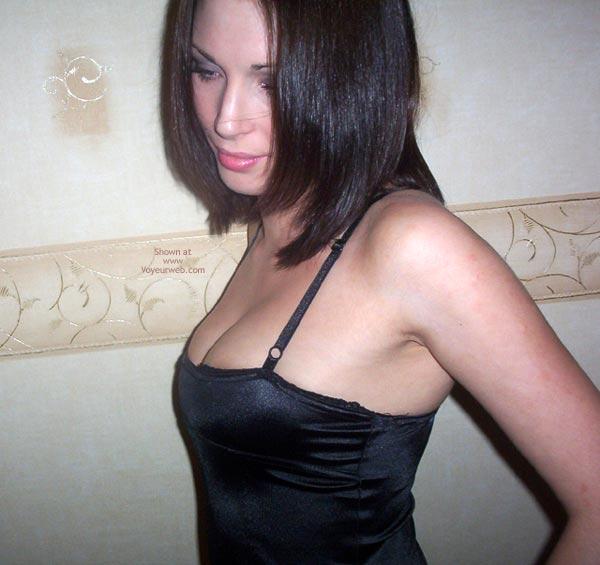 Pic #1 - Underwear Slip Dark Hair - Dark Hair , Underwear Slip Dark Hair, Spaghetti Straps, Cleavage Tight Black Dress