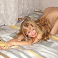 On Bed Nude With Teddy Bear - Blonde Hair
