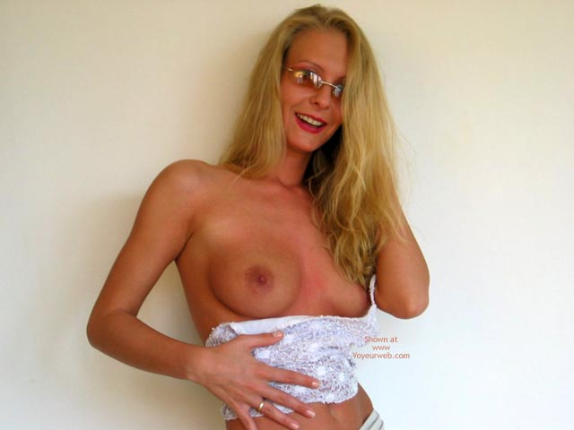 Pic #1 - Long Blonde Hair - Long Hair, Small Boobs, Topless , Long Blonde Hair, Topless, Wearing Glasses, Burnt Small Boobs